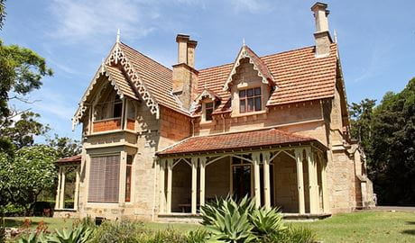 Greycliffe House exterior, an elegant mid 19th-century Gothic-style house in Sydney Harbour National Park. Photo: John Yurasek/DPIE