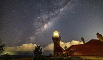 A starry night sky at Barrenjoey lighthouse, Sydney Harbour National Park. Photo:  Luke Vadeker
