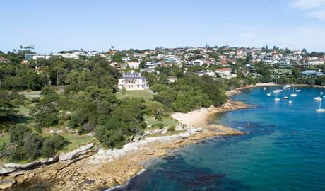Aerial view of Strickland House in Sydney Harbour National Park. Photo: Gareth Pickford/DPIE