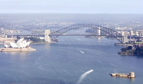 Sydney Harbour aerial view. Photo: Simone Cottrell/Botanic Gardens Trust