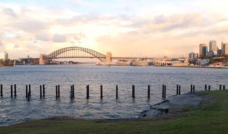 Sunset, Sydney Harbour Bridge view from Goat Island. Photo: Rosie Nicolai/OEH