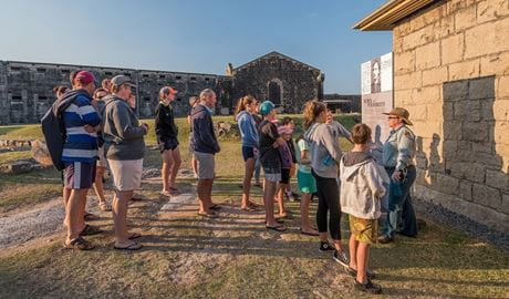 Tour group at Trial Bay Gaol, Arakoon National Park. Photo: Jessica Robertson