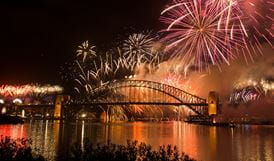 View of the fireworks display at its height, Goat Island, Sydney Harbour National Park. Photo: Jennifer Mitchell