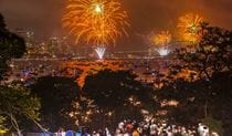 The view of the Sydney NYE fireworks from Athol Lawn, Bradleys Head. Photo: Kelly Hulme