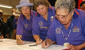 Aboriginal Elders signing a joint management agreement for Gaagal Wanggaan National Park. Photo: OEH