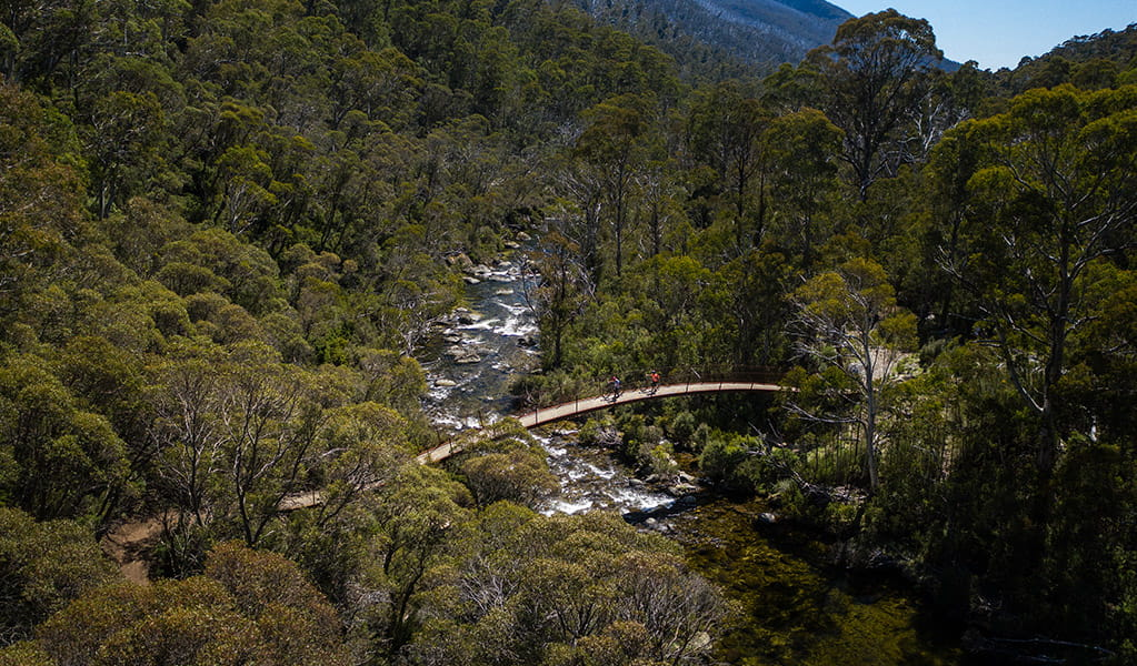 Aerial view of Bridge 5 crossing Thredbo River along Thredbo Valley track, Kosciuszko National Park. Photo: Robert Mulally/DPIE