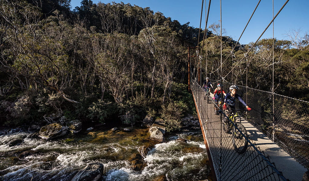 A family cycles across suspension Bridge 2 over Thredbo River, along Thredbo River track, Kosciuszko National Park. Photo: Robert Mulally/DPIE