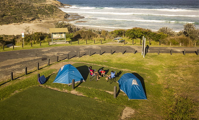 Aerial view of Frazer campground, Munmorah Station Conservation Area. Photo: John Spencer/DPIE
