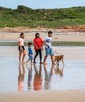 A family walk a leashed dog along a beach. Phoot: John Spencer © DPIE