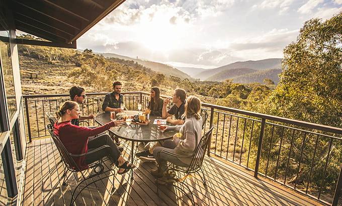 Group of people at Creel Lodge, Kosciuszko National Park. Photo: Boen Ferguson/OEH
