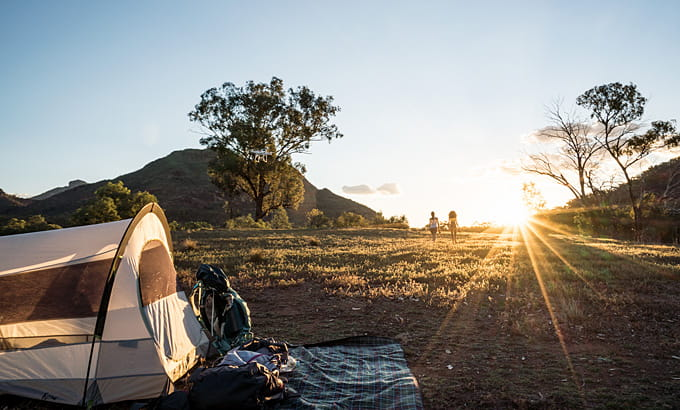 Camping tent at sunset in Warrumbungle National Park. Photo: Robert Mulally