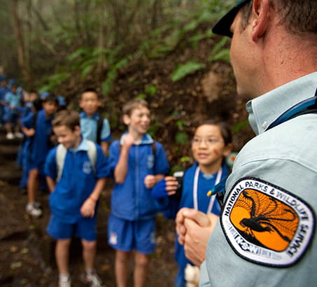 Discovery ranger with school children, Blue Mountains National Park. Photo: Nick Cubbin/OEH