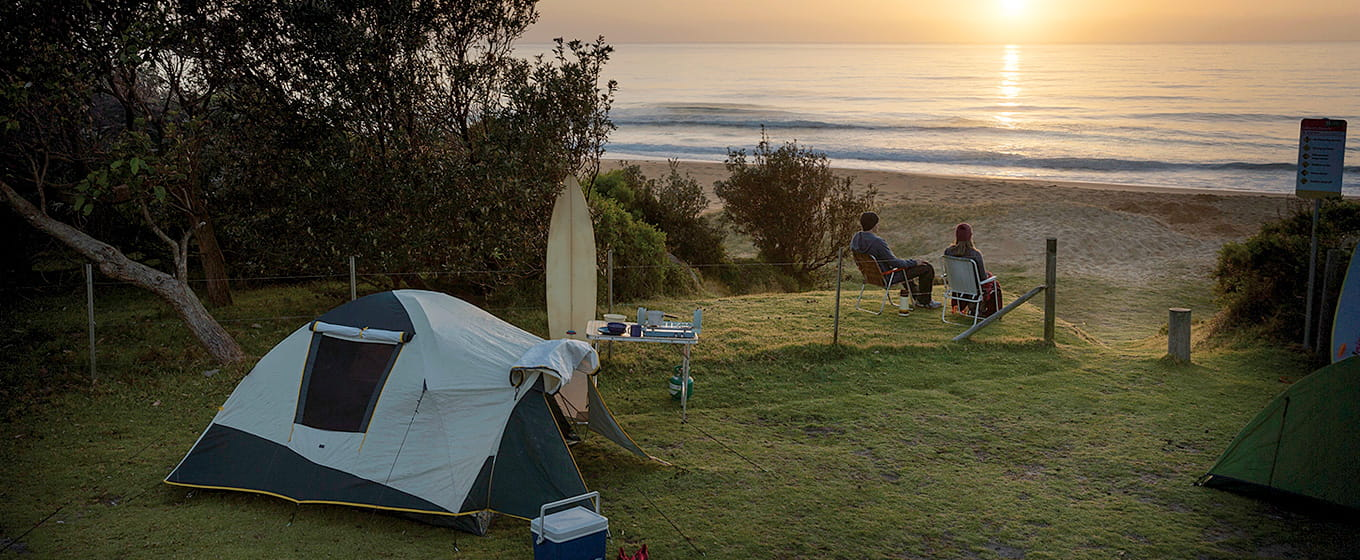 Tent at sunrise at Gillards Beach, Mimosa Rocks National Park. Photo: David Finnegan/DPIE