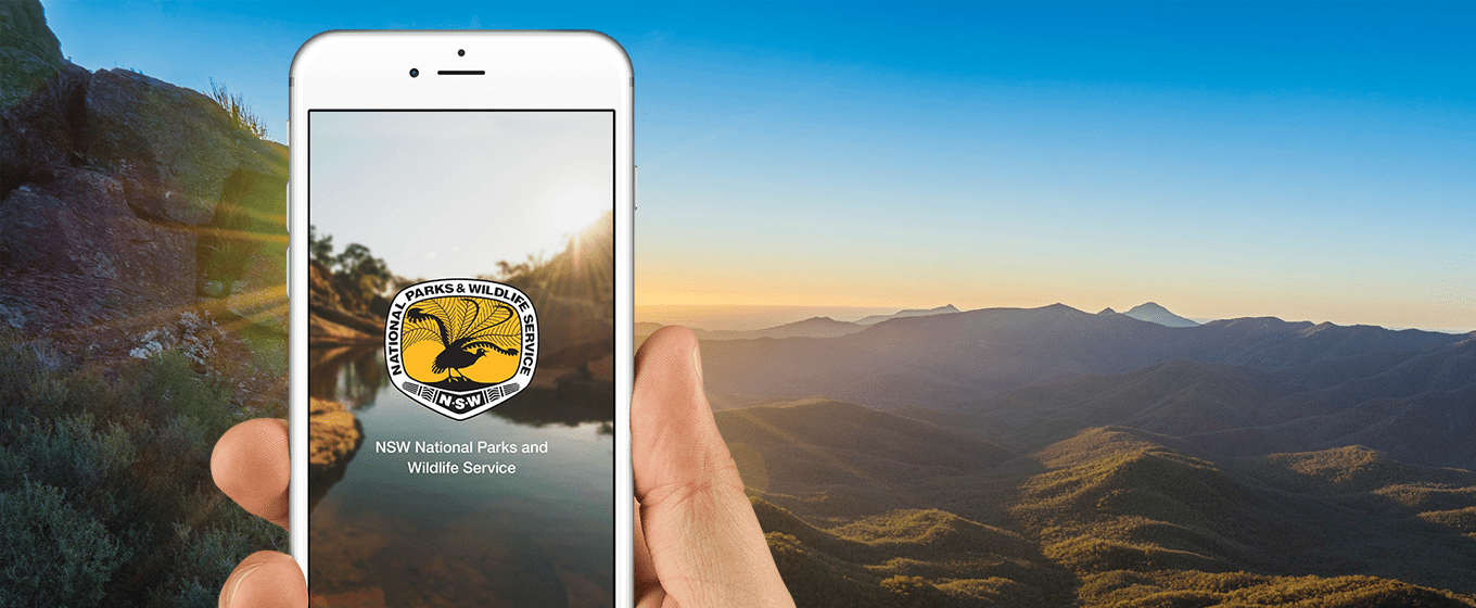 Phone with NSW National Park app on screen and mountains in background. Photo: OEH
