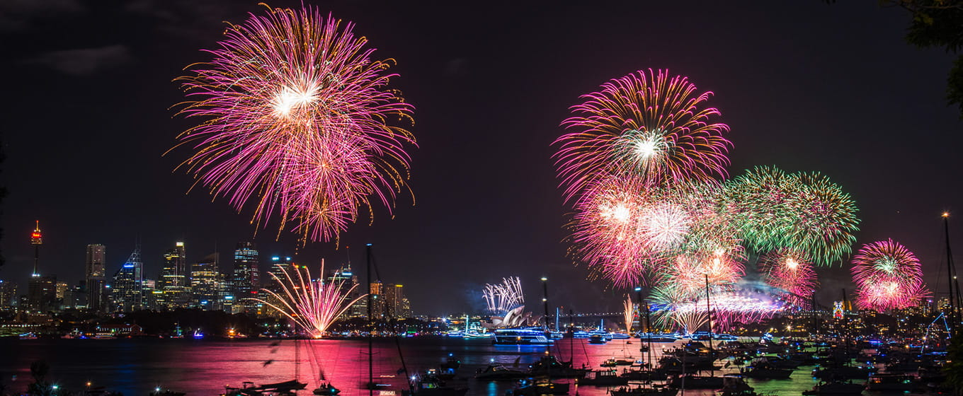 View from Bradleys Head Amphitheatre of the Sydney New Year's Eve fireworks. Photo: Kelly Hulme/OEH