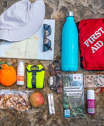 Flat lay of some basic items to pack in your backpack on a bushwalk. Photo: John Spencer &copy: DPIE