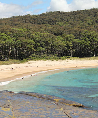People swimming at Depot Beach in Murramarang National Park. Photo: J Yuraysek/OEH