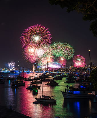 View from Bradleys Head Amphitheatre of the Sydney New Years Eve fireworks. Photo: Kelly Hulme/OEH