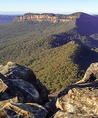 View of Mount Solitary from Ruined Castle walking track, Blue Mountains National Park.  Photo: Aine Gliddon © DPIE