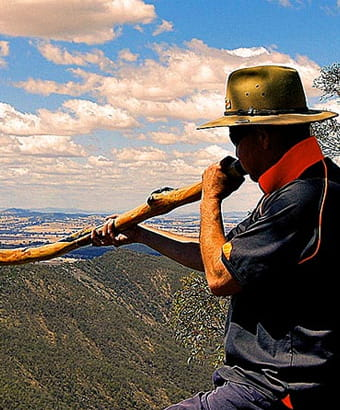 A man plays a didgeridoo in front of a sweeping vista of forest-clad hills. Photo credit: Mark Saddler © Bundyi Cultural Tours