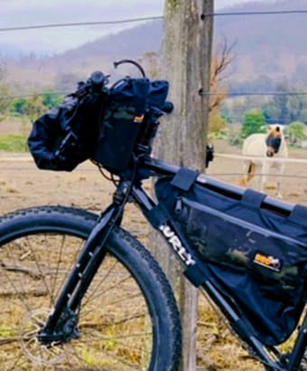 View of mountain bike resting on a fence post with a horse in the background.