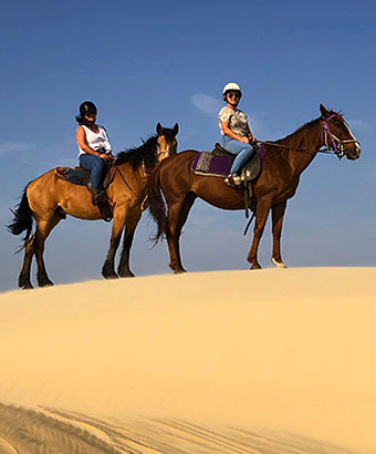 2 riders on horses stand on a high dune. Photo credit: Emily Sansom © Sahara Trails Horse Riding