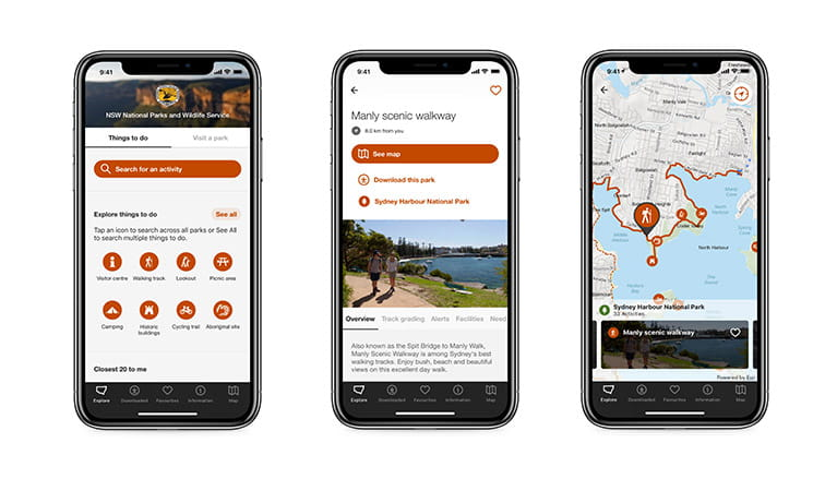Screen shots from the NSW National Parks app. Photo: OEH