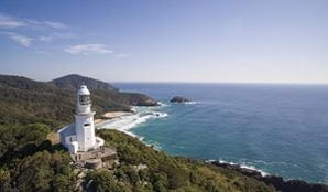 Aerial view of Smoky Cape lighthouse, Hat Head National Park. Photo: Jessica Robertson/OEH.