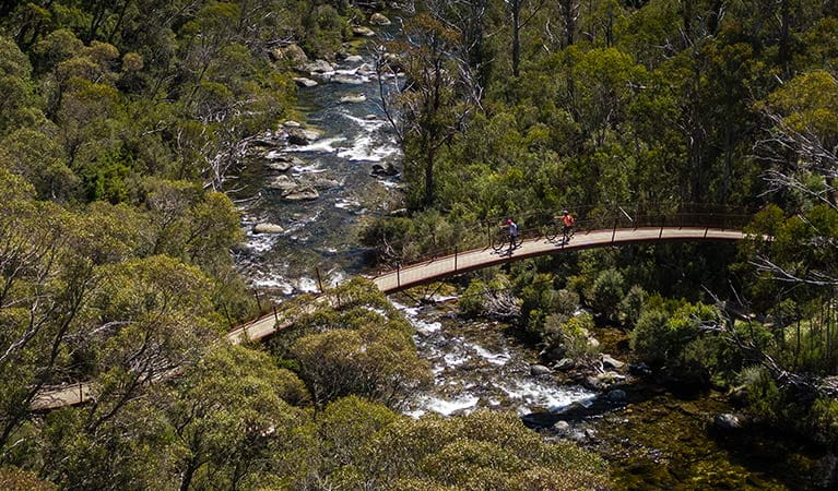 Aerial view of Bridge 5 along Thredbo Valley track, crossing Thredbo River in Kosciuszko National Park. Photo: Robert Mulally/DPIE