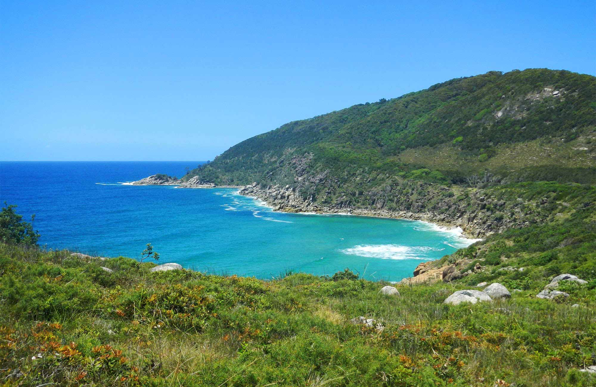 Scenic coastal view from Monument Hill, Arakoon National Park. Photo: Debby McGerty