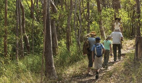 A family walking along Powder Magazine track in Arakoon National Park. Photo: David Finnegan/DPIE
