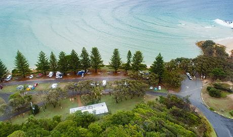 Aerial view of Trial Bay Gaol campground, Arakoon National Park. Photo: Rob Mulally/DPIE