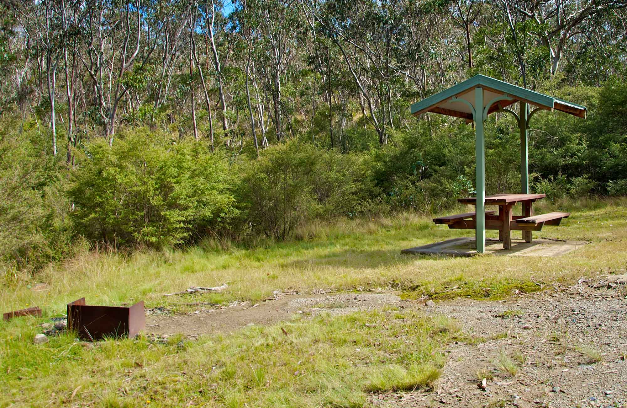 Picnic shelter and fire BBQ at the picnic area. Photo: John Spencer