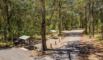 The road to Cobark Park picnic area with signage and a covered picnic table on the left in Barrington Tops National Park. Photo: John Spencer © DPIE