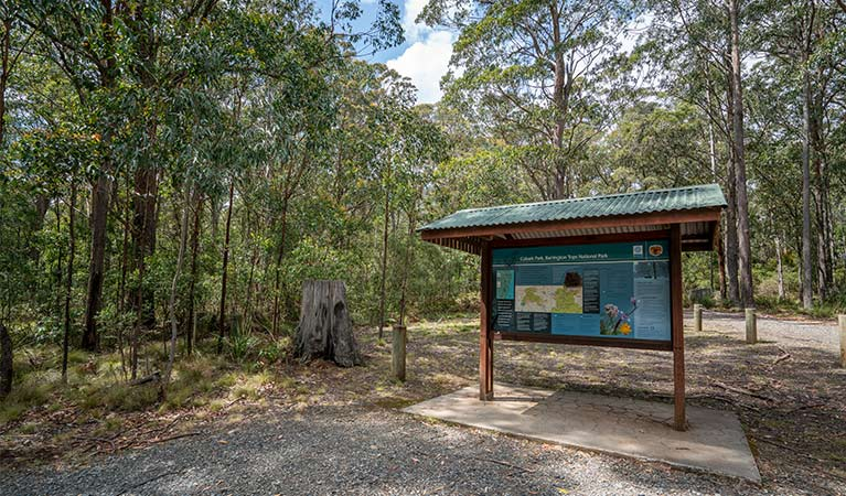 Signage at Cobark Park picnic area in Barrington Tops National Park. Photo: John Spencer © DPIE
