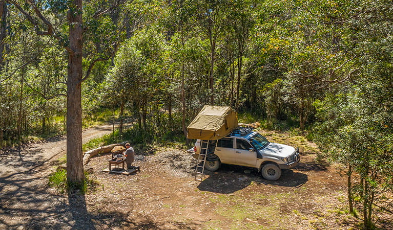 A man cooking at a fire pit next to his vehicle at Devils Hole campground in Barrington Tops National Park. Photo: John Spencer/DPIE