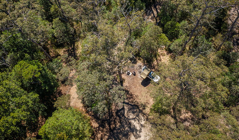 Aerial view of Devils Hole campground in Barrington Tops National Park. Photo: John Spencer/DPIE