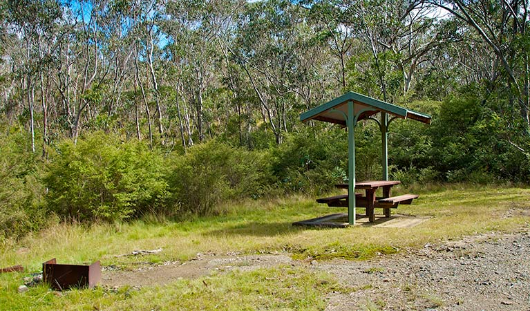 Park bench and open fire place. Barrington Top National Park. Photo:John Spencer Copyright: NSW Government