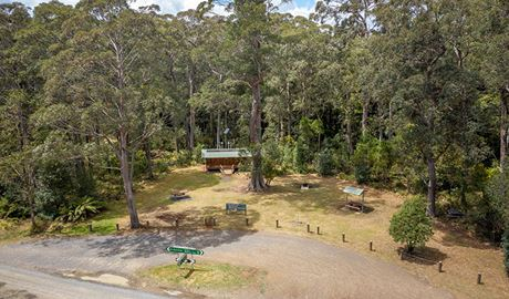 Aerial view of Honeysuckle picnic area in Barrington Tops National Park. Photo: John Spencer/DPIE
