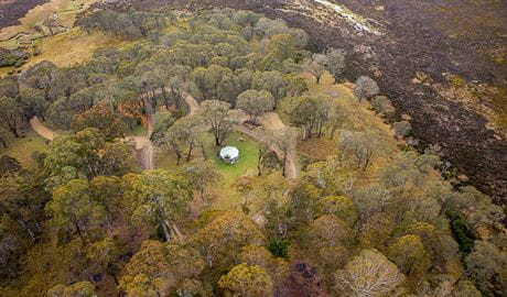 Aerial view of Polblue campground and picnic area in Barrington Tops National Park. Photo: John Spencer/DPIE