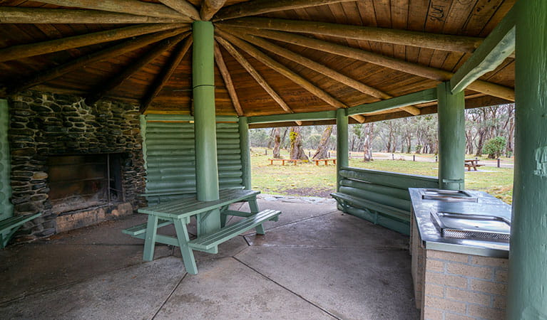 Barbecue facilities under a covered pavilion in Polblue campground and picnic area, Barrington Tops National Park. Photo: John Spencer/DPIE