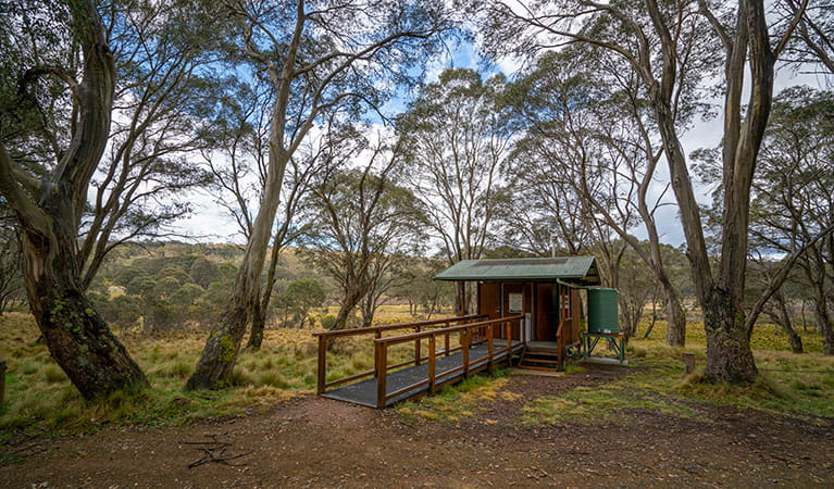 Amenities building set amongst trees in Polblue campground and picnic area, Barrington Tops National Park. Photo: John Spencer/DPIE