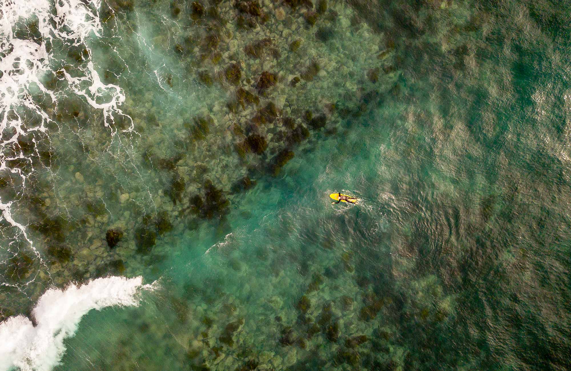 Aerial view of surfer in the ocean near Saltwater Creek campground. Photo: J Spencer/OEH