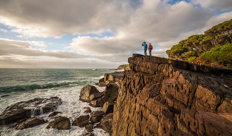 People standing on high cliffs, looking for whales at Bittangabee Bay. Photo: John Spencer/OEH