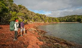 Hikers on the Light to Light walk in Ben Boyd National Park. Photo: John Spencer/DPIE