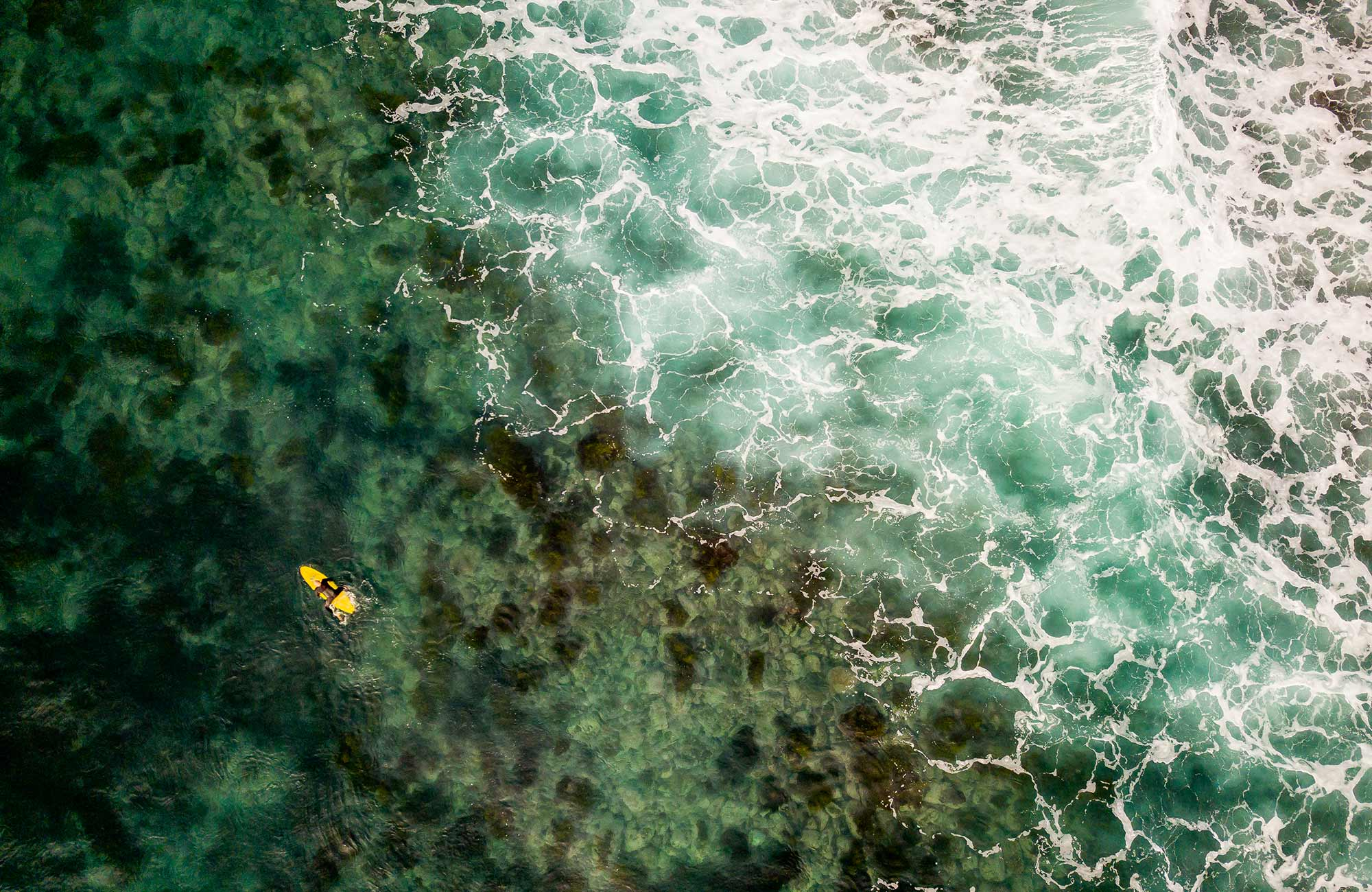 Aerial view of surfer in ocean at Ben Boyd National Park. Photo: John Spencer/DPIE
