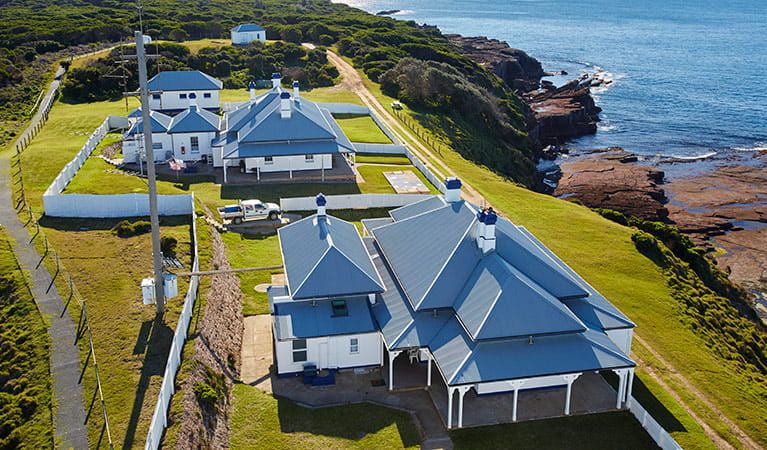 Aerial view of Green Cape Lightstation Keeper's Cottage in Ben Boyd National Park. Photo: N Cubbin/OEH