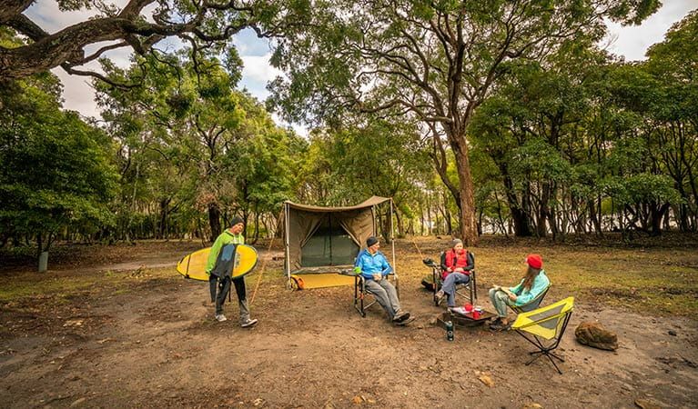 Campers at Saltwater campground in Ben Boyd National Park. Photo: John Spencer/DPIE