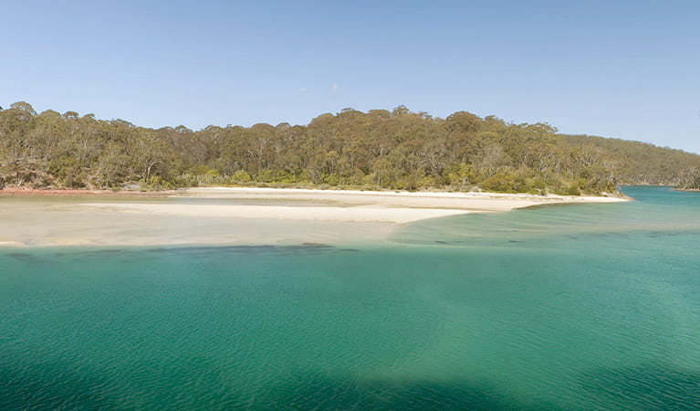 Pambula River mouth seen from Pambula River walking track. Photo: Michael Van Ewijk/DPIE
