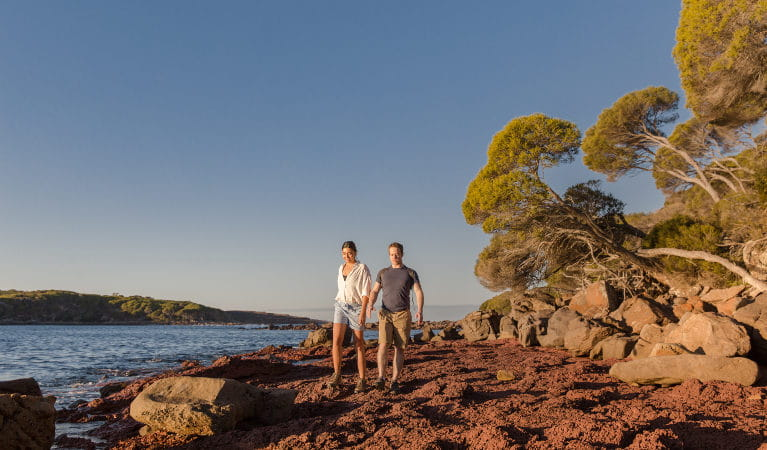 Two people walk on the sand beside the water, on the Light to Light Walk in Ben Boyd National Park. Photo: Tim Clark/DNSW